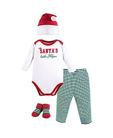 Baby Vision Baby Unisex Baby Holiday Clothing Gift box, 4-Piece Set, Santa's Helper