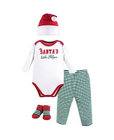Little Treasure Unisex Baby Holiday Clothing Gift box, 4-Piece Set, Santa's Helper, 0-6 Months