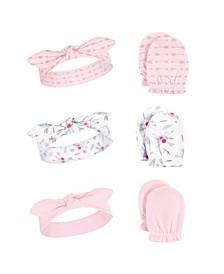 Baby Girl Headband and Scratch Mittens, 6-Piece Set