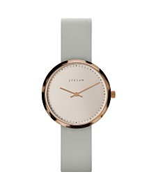 Jigsaw Ladies Watch, Round Gold Stainless Steel Case, With Tortoiseshell Resin Top Ring, Rose Gold Dial, Genuine Leather Strap