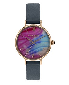 """Composure"", Ladies, Printed Candy Floss Agate Dial, Genuine Blue Sandstone Crown, navy Leather Strap, 38MM"