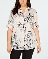 c037eff7bde Calvin Klein Plus Size Printed Roll-Tab-Sleeve Top