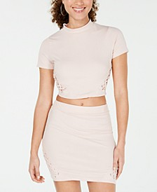 Juniors' Lace-Up Rib-Knit Crop Top, Created for Macy's