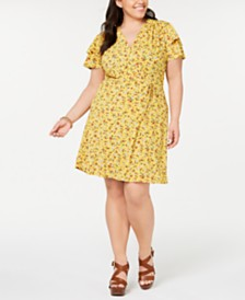 Monteau Plus Size Printed Flutter Wrap Dress