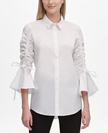 Calvin Klein Ruched Bell-Sleeve Shirt