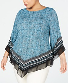 Alfani Plus Size Printed Pointed-Hem Top, Created for Macy's