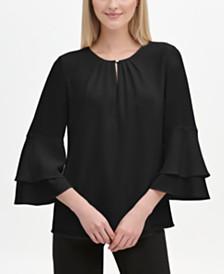 Calvin Klein Tiered Bell-Sleeve Blouse