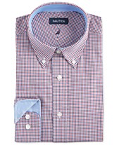 10a63816 Nautica Men's Classic/Regular Fit Comfort Stretch Wrinkle Free Tattersall  Dress Shirt