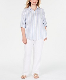Plus Size Linen Striped Shirt & Straight-Leg Pants, Created for Macy's