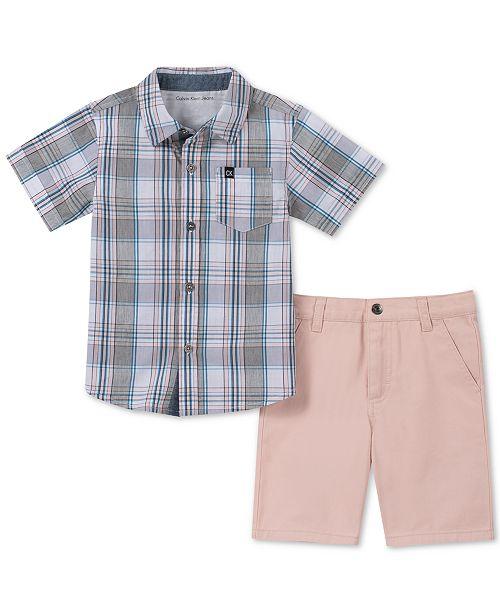 Calvin Klein Baby Boys 2-Pc. Cotton Plaid Shirt & Twill Shorts Set