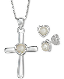 "Cultured Freshwater Pearl Cross 18"" Pendant Necklace and Heart Stud Earrings Set in Sterling Silver"