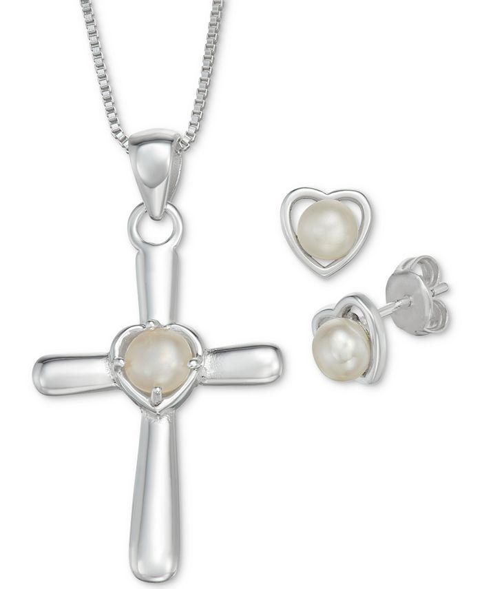 """Macy's - Cultured Freshwater Pearl (4-5mm) 18"""" Cross Pendant Necklace and Heart Stud Earrings Set in Sterling Silver"""