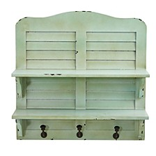 20-In. Vintage Window Shutter Shelving with Hooks Wall Decor
