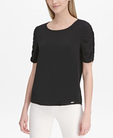 Calvin Klein Ruched-Sleeve Top