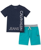 64ded1675fdc Calvin Klein Toddler Boys 2-Pc. Logo T-Shirt & Colorblocked Drawstring  Shorts