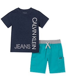 Calvin Klein Little Boys 2-Pc. Logo T-Shirt & Colorblocked Drawstring Shorts Set