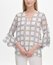 Calvin Klein Plaid Flare-Sleeve Top