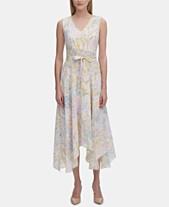 71f2814eef6 Calvin Klein Floral-Print V-Neck Handkerchief-Hem Dress