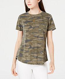 Ultra Flirt Juniors' Camo-Printed Pocket T-Shirt