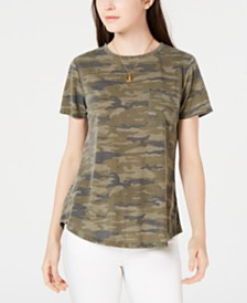 Ultra Flirt Juniors' Camo-Printed Pocket T-Shirt