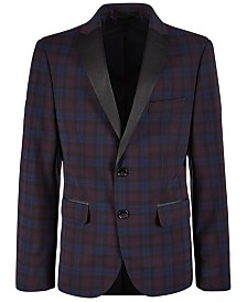Lauren Ralph Lauren Big Boys Stretch Plaid Dinner Jacket