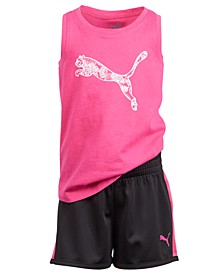 Little Girls 2-Pc. Logo-Print Tank Top & Shorts Set