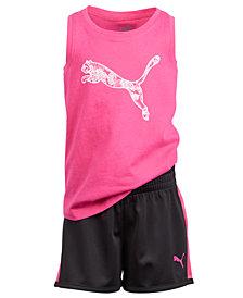 Puma Little Girls 2-Pc. Logo-Print Tank Top & Shorts Set