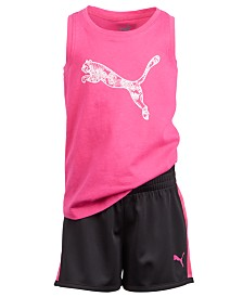 Puma Toddler Girls 2-Pc. Logo-Print Tank Top & Shorts Set
