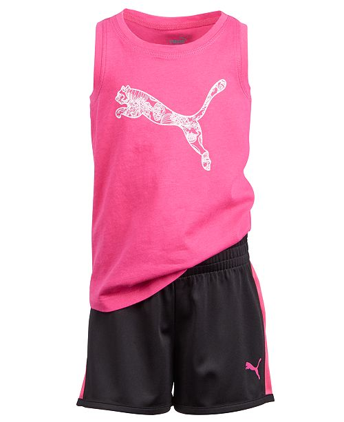 Puma Little Girls 2-Pc. Logo-Print Tank Top & Shorts Set