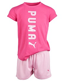 Puma Little Girls 2-Pc. Logo T-Shirt & Shorts Set