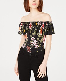 GUESS Off-The-Shoulder Pleated Bodysuit