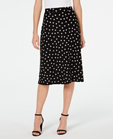 Kasper Petite Dot-Print Midi Skirt