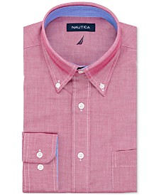 Nautica Men's Classic/Regular Fit Stretch Solid Oxford Dress Shirt