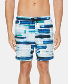 "Perry Ellis Men's 7"" Stripe Swim Trunks"