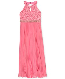 Speechless Big Girls Lace Pleated Maxi Dress