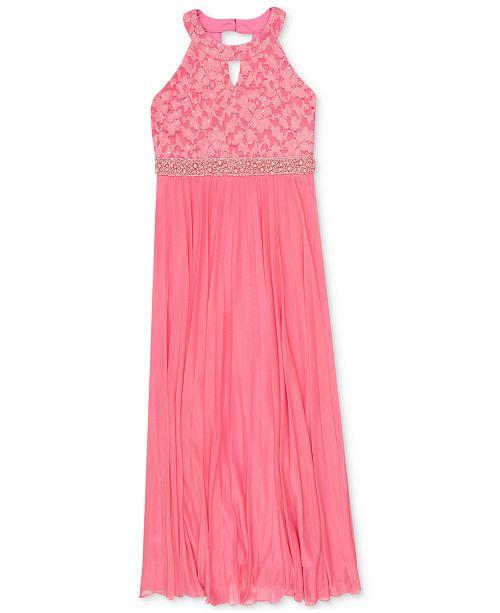 Speechless Big Girls Lace Pleated Maxi Dress