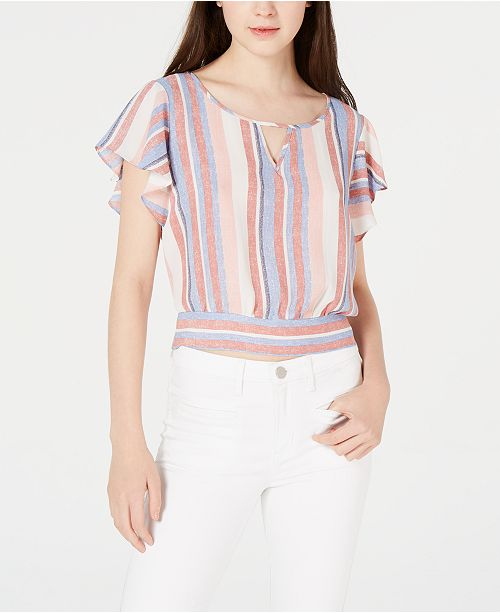BCX Juniors' Striped Tie-Back Flutter-Sleeve Top