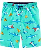 e788065d22027 Carter's Little Boys Shark-Print Swim Trunks