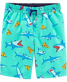 Carter's Little Boys Shark-Print Swim Trunks
