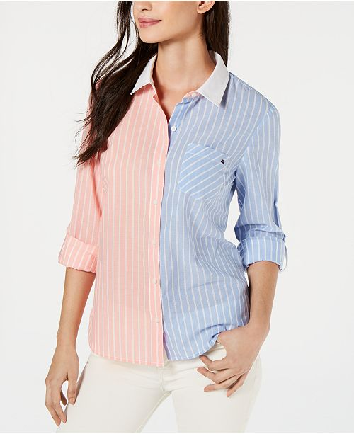 Tommy Hilfiger Cotton Two-Tone Striped Shirt, Created for Macy's