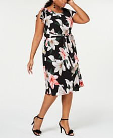 Robbie Bee Plus Size Belted Floral Printed Dress