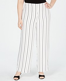Plus Size Striped Wide-Leg Pants, Created for Macy's