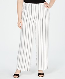 Bar III Plus Size Striped Wide-Leg Pants, Created for Macy's