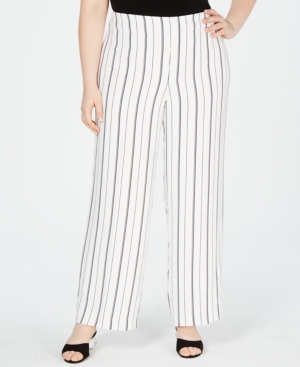 Bar III Plus Striped Wide-Leg Pants