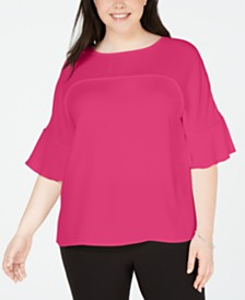 Bar III Plus Size Ruffle-Sleeve Blouse, Created for Macy's