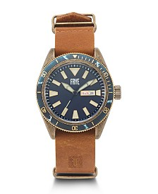 Frye Mens' Campus Distressed Dial Tan Leather Nato Strap Watch
