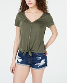 Crave Fame Juniors' Knot-Front Button-Trimmed Top