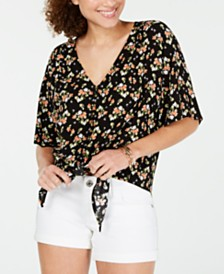 Ultra Flirt Juniors' Printed Tie-Front Top