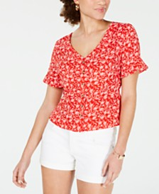 Hooked Up Juniors' Printed Peplum Top