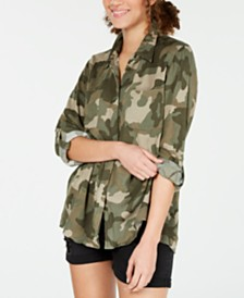 Hippie Rose Juniors' Roll-Sleeve Utility Shirt
